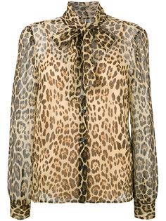 блузка с бантом и леопардовым узором Red Valentino