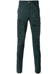 кожаные брюки с рваной отделкой Giorgio Brato