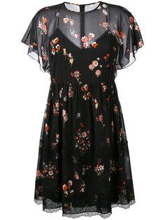 прозрачное платье с цветочным принтом Red Valentino