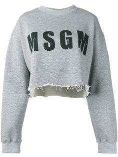 укороченная толстовка с логотипом MSGM