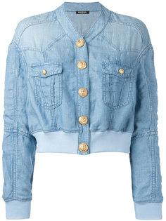 укороченная джинсовая куртка Balmain