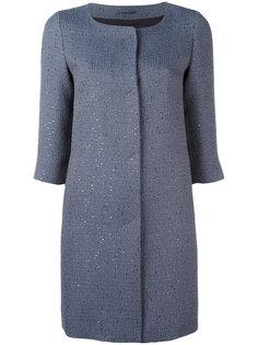 пальто с блестящим эффектом без воротника Herno