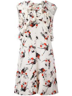 платье с цветочным принтом и рюшами Marni