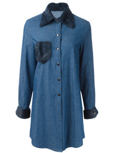 fur trim shirt dress  Liska