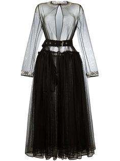 прозрачное платье из тюля с поясом Givenchy