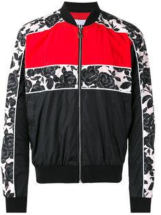 куртка-бомбер  с контрастными полосками MSGM