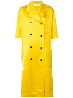 двубортное пальто с плиссировкой Victoria Beckham
