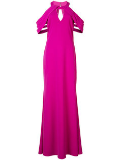 pleated cut-out sleeves gown Badgley Mischka