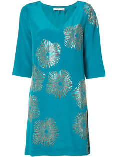 metallic print shift dress Trina Turk