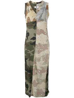 длинное платье с камуфляжным принтом Mm6 Maison Margiela