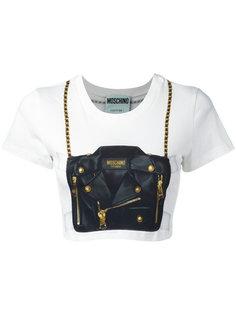 укороченная футболка с принтом сумки Moschino