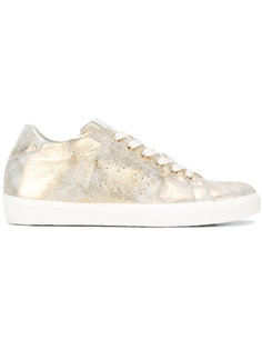 distressed metallic sneakers Leather Crown