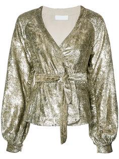 metallic waist-tie blouse Co