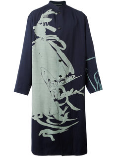 свободное пальто с узором  Yohji Yamamoto