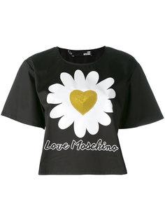 футболка с сердечком из пайеток Love Moschino