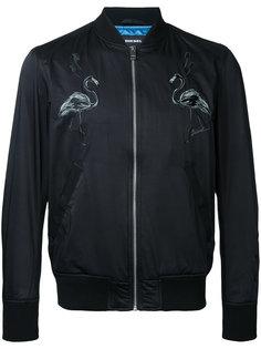 куртка-бомбер с изображением фламинго Diesel