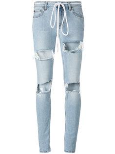 джинсы с рваными деталями Off-White