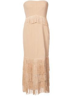 платье без бретелек с бахромой Jonathan Simkhai