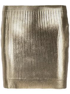 мини-юбка с покрытием металлик Saint Laurent