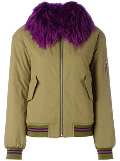 fur trim bomber jacket  Army Yves Salomon