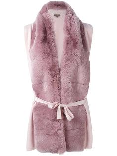 furry detail cardi-coat  N.Peal