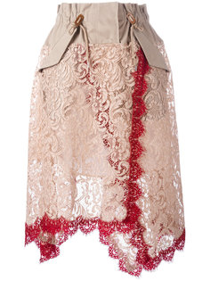 юбка в стиле милитари с кружевной отделкой Sacai