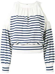 cold shoulder striped sweater Sacai