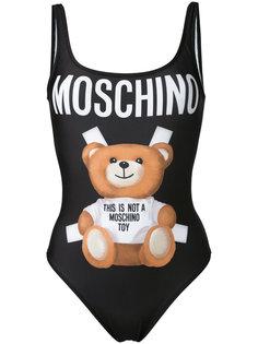 слитный купальник с изображением медведя Moschino