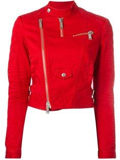 укороченная саржевая байкерская куртка Dsquared2