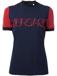 трикотажный топ с вышитым логотипом Versace
