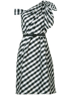 plaid taffeta one shoulder dress Carolina Herrera