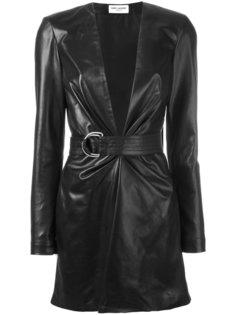кожаное мини-платье с поясом Saint Laurent