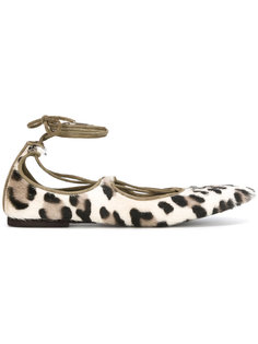 leopard lace-up ballerinas Danielapi