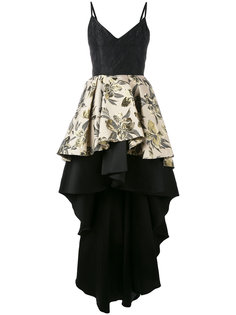 floral jacquard high-low ruffle dress Christian Pellizzari