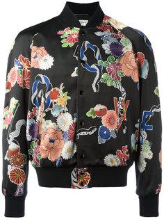 куртка-бомбер Love с цветочным принтом Saint Laurent