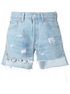 джинсовые шорты с потертой отделкой Forte Couture