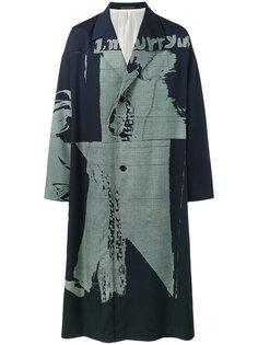 oversized printed overcoat Yohji Yamamoto