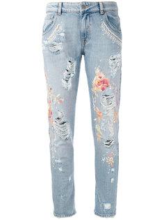 джинсы с цветочной вышивкой  Amen Amen.