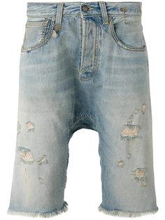 джинсовые шорты с потертой отделкой R13