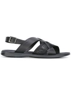 сандалии с принтом логотипа Emporio Armani