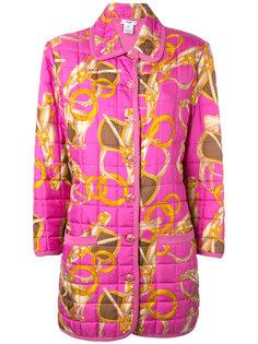 scarf print quilted coat Céline Vintage