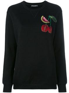 топ с вышитой вишней Dolce & Gabbana
