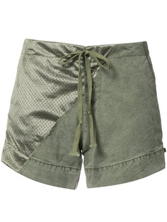 panelled satin and cotton shorts Greg Lauren
