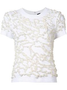 расшитая жемчужинами футболка Vera Wang