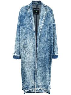 джинсовое пальто с эффектом кислотной стирки  MSGM