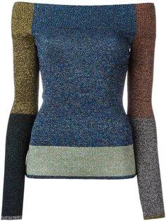 свитер в стиле пэчворк с открытыми плечами Christopher Kane