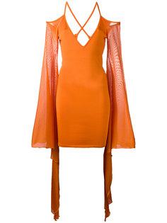 платье мини с оборками на рукавах Balmain