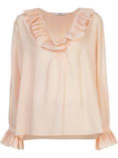 pleated deep neck blouse Vilshenko