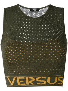 сетчатый топ с принтом-логотипом Versus