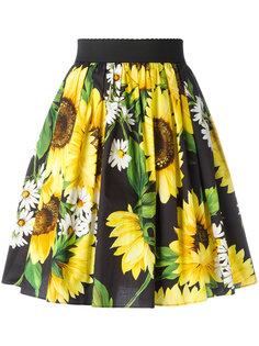 юбка с принтом подсолнухов Dolce & Gabbana